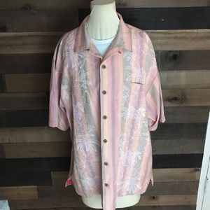 Tommy Bahama pink floral silk shirt size large